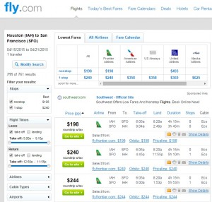 Houston to San Francisco: Fly.com Results