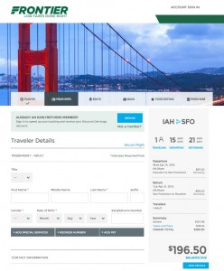 Houston to San Francisco: Frontier Booking Page