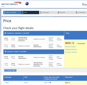 Houston-Stockholm: BA Booking Page
