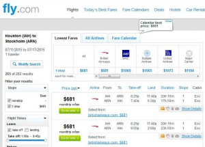 Houston-Stockholm: Fly.com Search Results