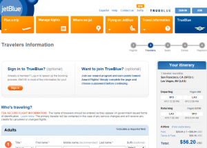 S.F. to Vegas: JetBlue Booking Page