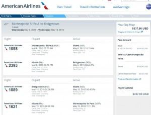 Minneapolis-Bridgetown: American Booking Page