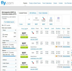 Minneapolis-Charlotte Amalie Fly.com Search Results