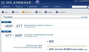 Minneapolis-Charlotte Amalie: US Airways Booking Page