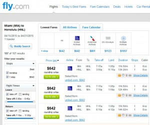 Miami to Honolulu: Fly.com Results