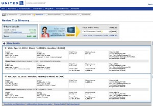 Miami to Honolulu: United Booking Page