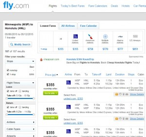 Minneapolis to Honolulu: Fly.com Results