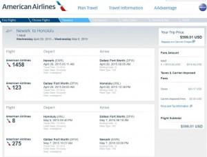 New York City-Honolulu: American Booking Page
