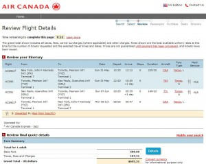 New York City-Sao Paulo: Air Canada Booking Page