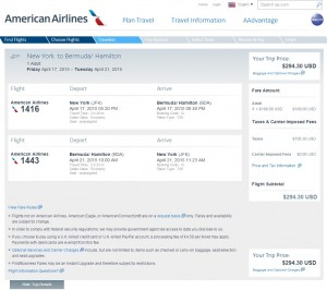NYC to Bermuda: American Airlines Booking Page