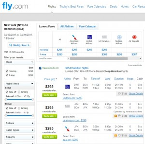NYC to Bermuda: Fly.com Results