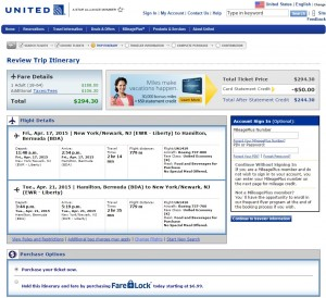 NYC to Bermuda: United Booking Page