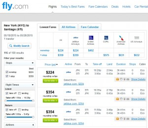 NYC to Santiago: Fly.com Results