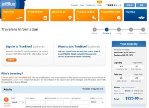 NYC to Santiago: JetBlue Booking Page