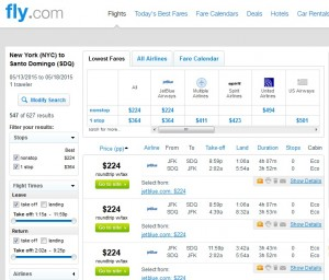 NYC to Santo Domingo: Fly.com Results
