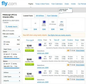 Pittsburgh-Orlando: Fly.com Search Results