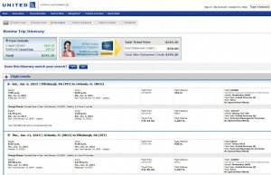 Pittsburgh-Orlando: United Booking Page