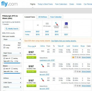Pittsburgh-Miami: Fly.com Search Results
