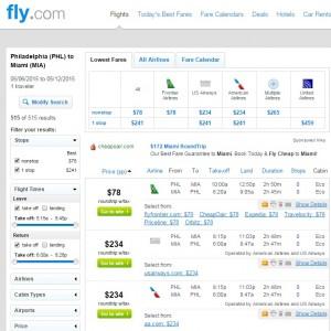 Philadelphia to Miami: Fly.com Results