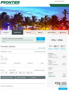 Philadelphia to Miami: Frontier Booking Page