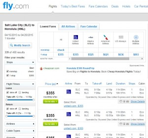 Salt Lake City to Honolulu: Fly.com Results
