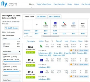 Washington, D.C., to Cancun: Fly.com Results