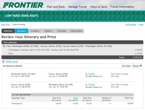 Washington, D.C., to Cancun: Frontier Booking Page