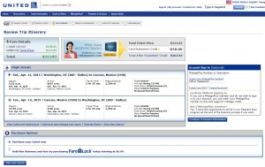 Washington, D.C., to Cancun: United Booking Page