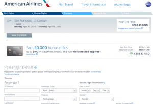 San Francisco to Cancun: American Airlines Booking Page