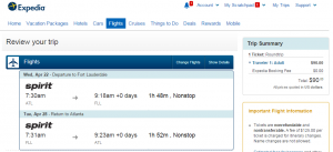 Atlanta to to Ft Lauderdale: Expedia Booking Page