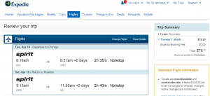 Houston to Chicago: Expedia Booking Page