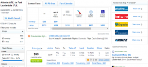 Atlanta to Ft Lauderdale: Fly.com Results Page