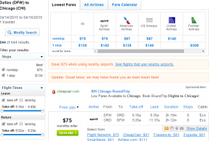 Dallas to Chicago: Fly.com Results Page
