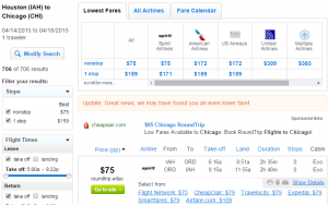 Houston to Chicago: Fly.com Results Page