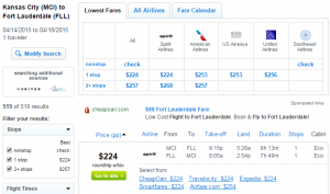 Fly.com Results Page: K.C. to Ft Lauderdale
