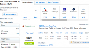 SF to Cancun: Fly.com Results Page