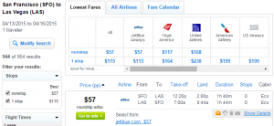 S.F. to Vegas: Fly.com Results Page