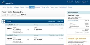 Atlanta to Tampa: Travelocity Booking Page