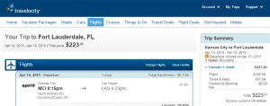 Travelocity Booking Page: K.C. to Ft Lauderdale