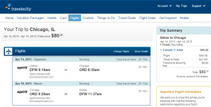 Dallas to Chicago: Travelocity Booking Page