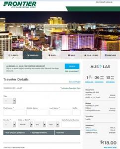 Austin-Las Vegas: Frontier Booking Page