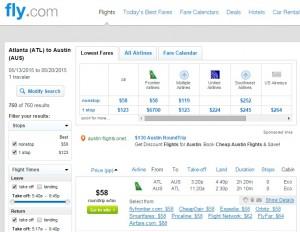 Atlanta to Austin: Fly.com Results