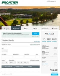 Atlanta to Austin: Frontier Booking Page