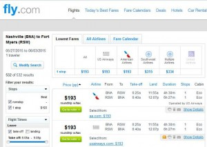 Nashville-Fort Myers: Fly.com Search Results