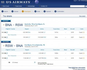 Nashville-Fort Myers: US Ariways Booking Page