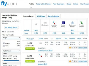 Nashville-Tampa: Fly.com Search Results
