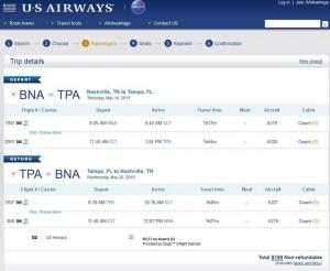 Nashville-Tampa: US Ariways Booking Page