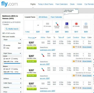 Baltimore-Nassau: Fly.com Search Results