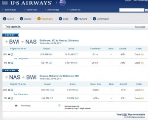 Baltimore-Nassau: US Airways Booking Page