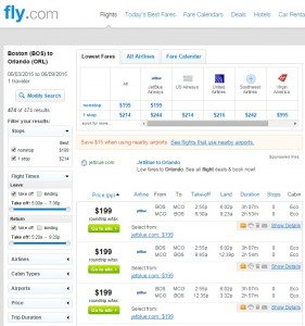 Boston to Orlando: Fly.com Search Results